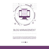 Blog Management Business Digital Content Information Technology Web Banner With Copy Space. Vector Illustration royalty free illustration