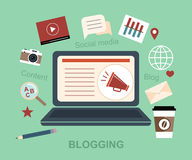 Blog Medialnej przesyłanie wiadomości Blogging Ogólnospołeczny Medialny pojęcie Obrazy Stock