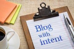 Blog mit bedachtem Rat oder Anzeige Stockfoto