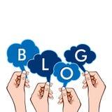 Blog mit der Hand Stockfotos