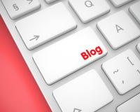 Blog - Mitteilung auf dem weißen Tastatur-Knopf 3d Lizenzfreie Stockfotos