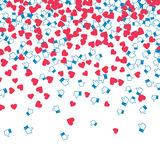 Blog monetization graphic. Hearts and likes. Profit from traffic. Abstract background Stock Images
