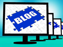 Blog On Monitors Shows Blogging Blogger Stock Photo