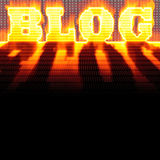 BLOG Montage. The word BLOG formed out of binary code and burning in flames while isolated over a black background Stock Photo