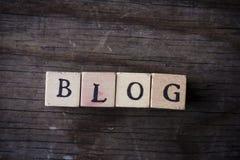 Blog - Name von den hölzernen Buchstaben Lizenzfreie Stockfotos