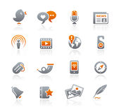 Blog & New Media // Graphite Icons Series Royalty Free Stock Photos