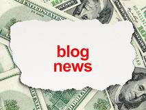Blog News on Money background. News concept: torn newspaper with words Blog News on Money background, 3d render Royalty Free Stock Photo