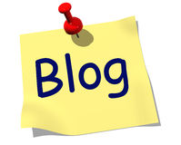 Blog Note. Note with the word Blog pinned to board Stock Photo
