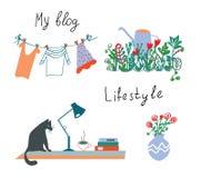 Blog- oder Lebensstilgestaltungselemente, stock abbildung