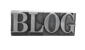 'BLOG' in old metal type Stock Photo