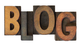 Blog in old wooden letterpress type Stock Images