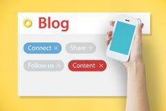 Blog online kontaktieren Digital-Gemeinschaftsmedien Lizenzfreie Stockfotos