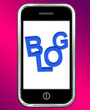 Blog On Phone Shows Blogging Or Weblog Websites Stock Photography