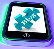 Blog On Phone Shows Mobile Blogging Or Weblog Website Stock Image