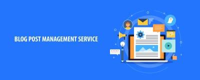 Blog poczta zarządzania usługa, zadowolony system zarządzania dla sieć blogów, Płaski projekta wektoru sztandar ilustracji
