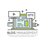 Blog Posts Creation Process. Music, video, images and data web sharing concept, content management Royalty Free Stock Images