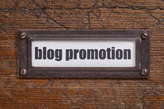 Blog promotion file cabinet label Stock Photo