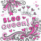 Blog Queen Sketchy Doodle Web Icon Design. Sketchy Doodle Blog Queen Princess Tiara - Back to School Style Notebook Doodles Vector Illustration Design Elements Royalty Free Stock Image