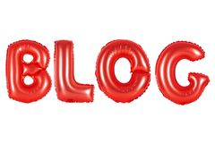Blog, red color Stock Photos