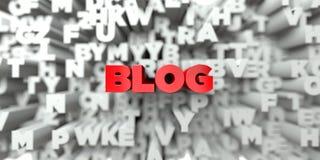 BLOG - Rode tekst op typografieachtergrond - 3D teruggegeven royalty vrij voorraadbeeld Royalty-vrije Stock Afbeeldingen