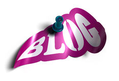 Blog sign. Blog sticker over a white background with a  pushpin Royalty Free Stock Photos