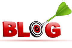 Blog sign with target board and arrow Royalty Free Stock Photography