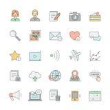 Blog simple outline design icon set multicolor. Stock Photos