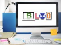 Blog-Social Media-Artikel-Wort-Art-Konzept Stockfoto