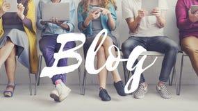 Blog-Social Media-Informationen schließen Konzept an Stockfoto