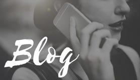 Blog-Social Media-Informationen schließen Konzept an Stockfotografie