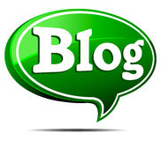 Blog Speech Bubble. 3D Green Blog Speech Bubble Royalty Free Stock Photo