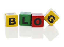 Blog spelled with alphabet building blocks Royalty Free Stock Images