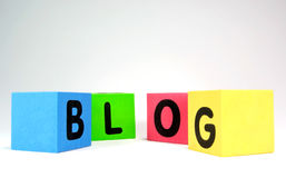 BLOG. Spelled with colorful foam toy blocks. Horizontal Stock Images