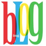 BLOG square letter collage in primary colors. Collage of letters spelling BLOG.  Primary colors palette.  Vector Royalty Free Stock Photos