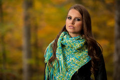 Blog style pretty young woman on a walk in forest on late autumn Royalty Free Stock Images