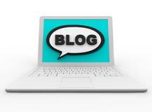 Blog su un computer portatile bianco Immagini Stock