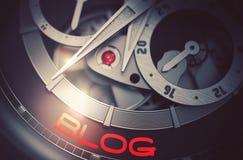Blog sur le mécanisme de luxe de montre-bracelet d'hommes 3d Photographie stock libre de droits