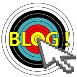 Blog on Target Click with Arrow Cursor Icon Royalty Free Stock Photography