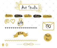 Blog template elements in gold and grey Royalty Free Stock Photo