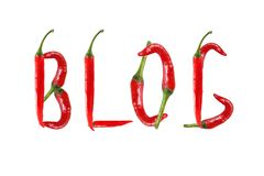 BLOG-Text bestanden aus Paprikapfeffern. Lizenzfreies Stockbild