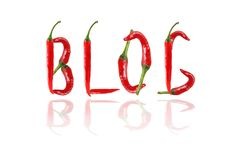 BLOG text composed of chili peppers. Isolated on white backgroun Royalty Free Stock Photography