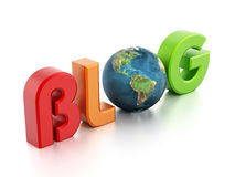 BLOG text with earth Royalty Free Stock Image