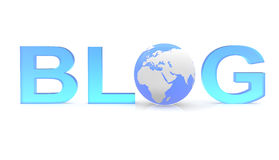 Blog. Text with a globe Royalty Free Stock Photo