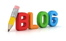 Blog text and pencil Stock Image