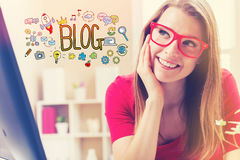 Blog text with young woman. In her home office Stock Image