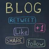 Blog-und Anteil-Tasten Stockfotos