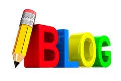 Blog und Bleistift auf weißem Hintergrund Lokalisierte Illustration 3d Lizenzfreie Stockfotografie
