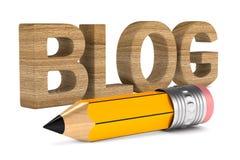 Blog und Bleistift auf weißem Hintergrund Lokalisierte Illustration 3d Lizenzfreie Stockfotos