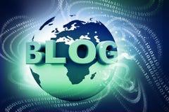 Blog und Welt Stockfoto