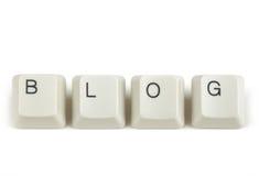 Blog van verspreide toetsenbordsleutels op wit Royalty-vrije Stock Foto